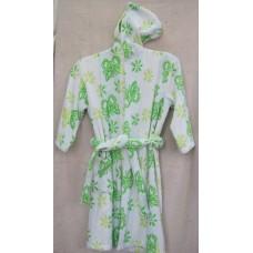 Детски халат с качулка Зелени пеперуди