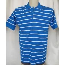 Мъжка риза трико к. р. памук синьо с бели раета