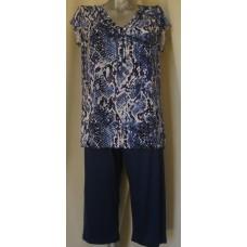 Дамска пижама къс ръкав и 3/4 панталон памук/еластан