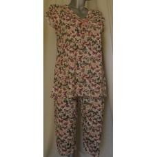 Дамска лятна пижама паднал ръкав вискоза/памук